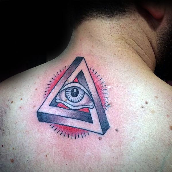 Upper Back Traditional All Seeing Eye Guys Tattoos
