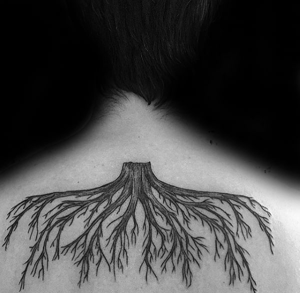Upper Back Tree Roots Tattoo On Guy