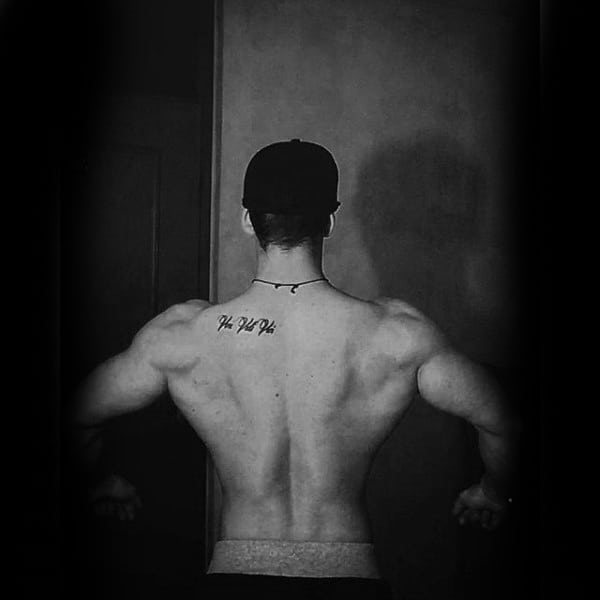 Upper Back Veni Vidi Vici Male Tattoo Design Inspiration