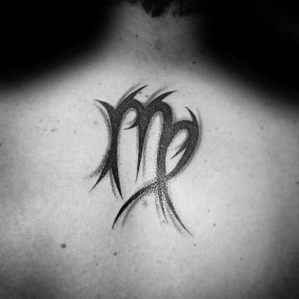 Upper Back Virgo Tribal Male Tattoos