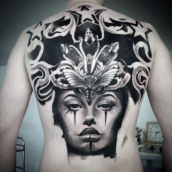 Upper Back Watercolor Shaded Chicano Female Portrait Tattoo On Male