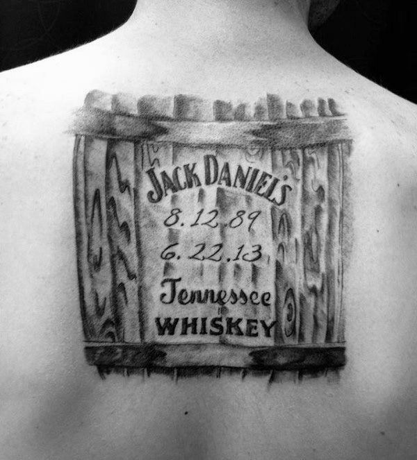 Upper Back Whiskey Barrel Mens Jack Daniels Tattoo