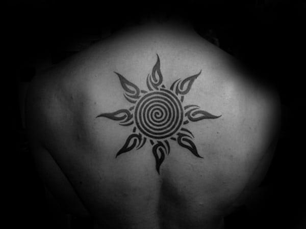 6e967258b4741 50 Tribal Sun Tattoo Designs For Men - Black Ink Rays