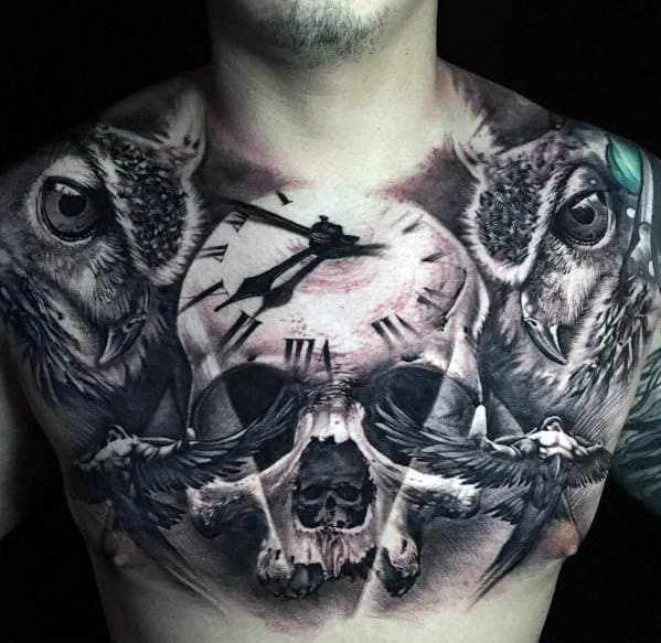 Upper Chest 3d Badass Skull Tattoo Ideas For Males