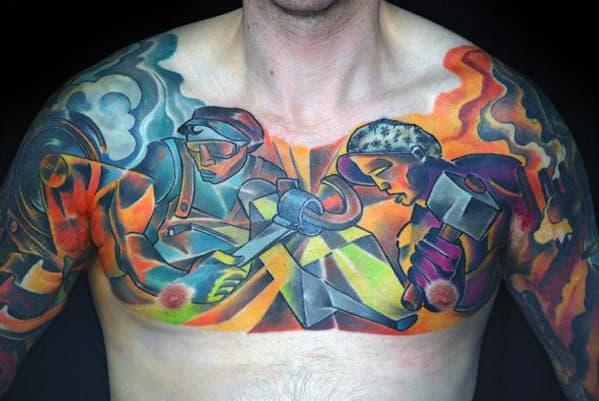 Upper Chest 3d Incredible Cubism Tattoos For Men
