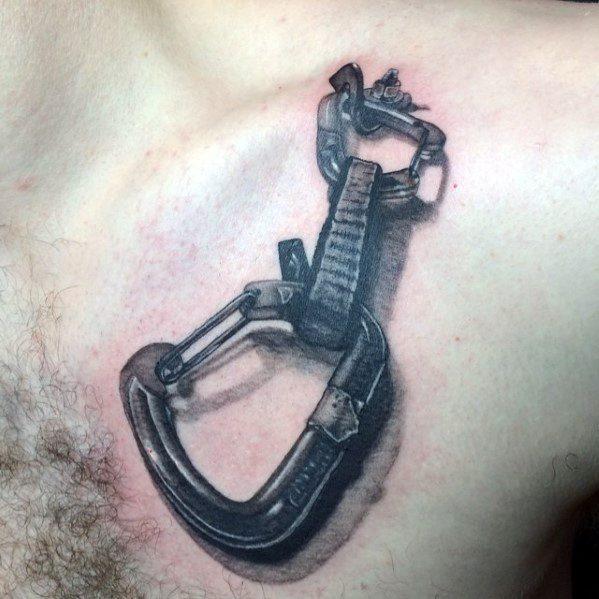 Upper Chest 3d Male Cool Rock Climbing Tattoo Ideas
