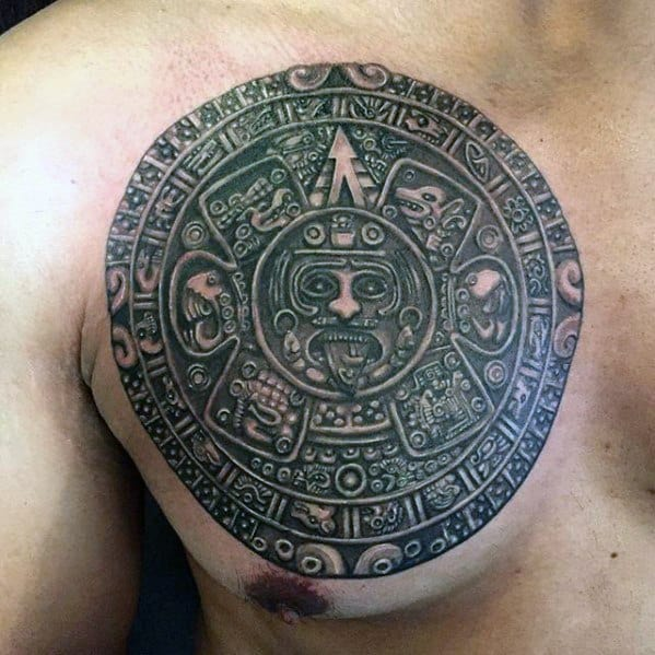 Upper Chest 3d Mayan Calender Male Tattoo Ideas