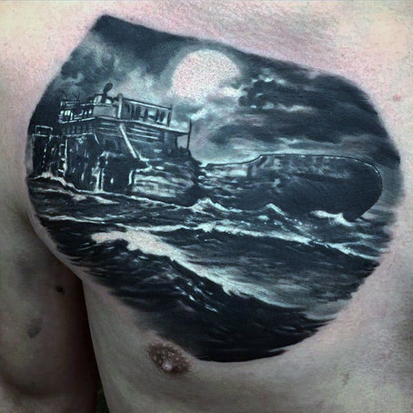 Upper Chest 3d Mens Shipwreck Tattoo Design Ideas