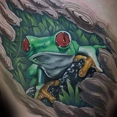 Upper Chest 3d Mens Tree Frog Tattoo Design Ideas