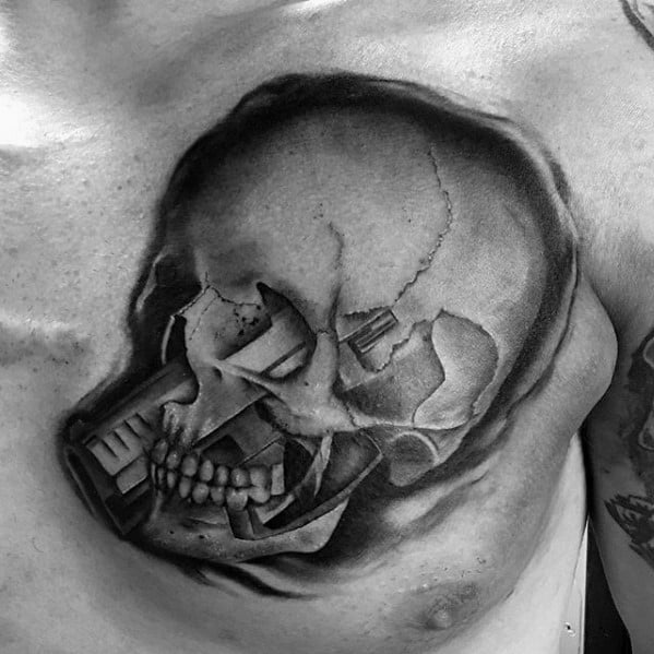 Upper Chest 3d Skull Pistol Morph Tattoos For Gentlemen