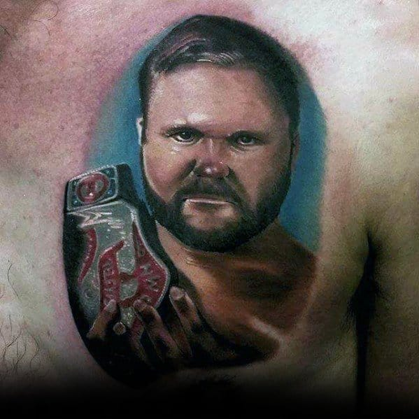 Upper Chest 3d Wrestling Mens Tattoo Ideas