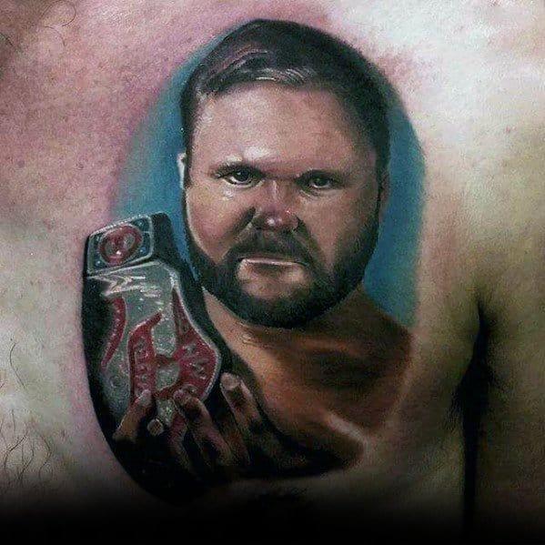 Upper Chest 3d Wrestling Mens Tattoo Ideas