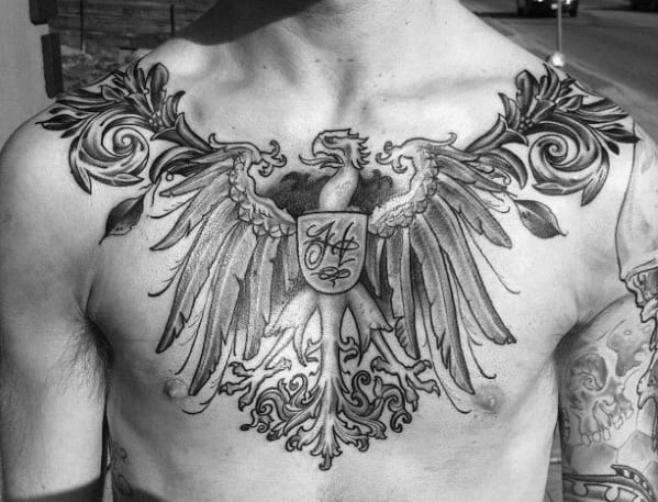 Upper Chest And Shoulder German Eagle Shaded Black And Grey Mens Tattoos