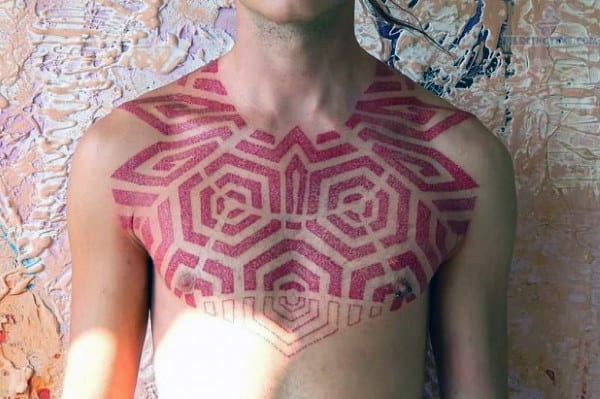 Upper Chest And Shoulder Guys Red Ink Pattern Tattoos