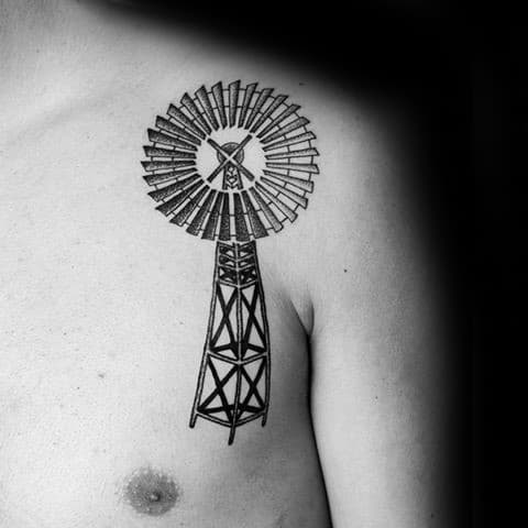 Upper Chest And Shoulder Guys Windmill Black Ink Tattoos