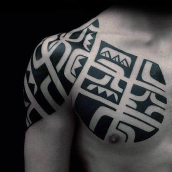 Upper Chest And Shoulder Mens Tribal Black Ink Tattoo Ideas