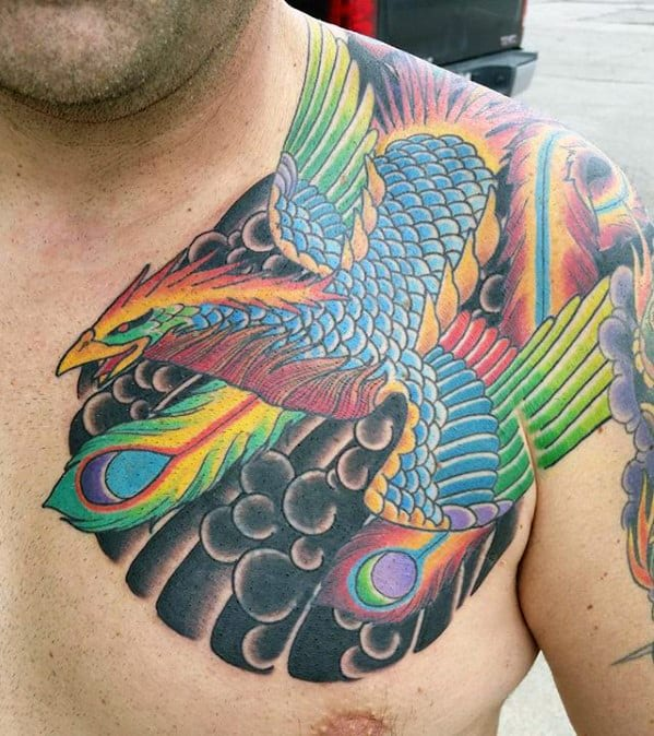 Upper Chest And Shoulder Phoenix Japanese Mens Tattoo Ideas
