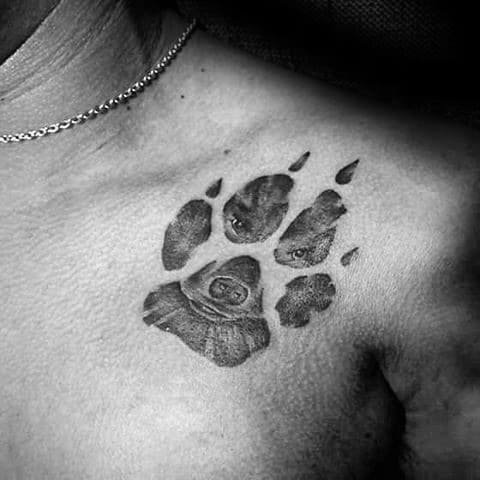 Upper Chest Animal Dog Paw Print Mens Tattoo Ideas