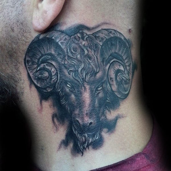 Upper Chest Aries Shaded Male Tattoo