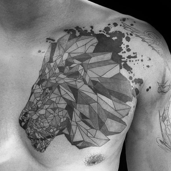 Upper Chest Awesome Ink Geometric Lion Tattoos For Men