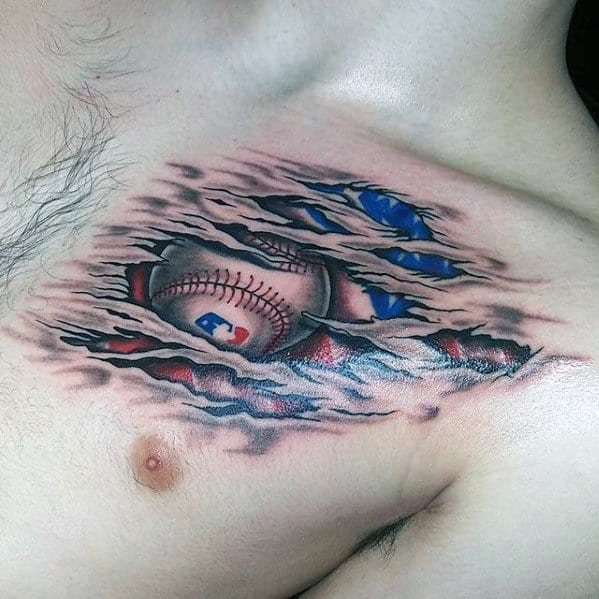 Upper Chest Baseball Torn Skin Masculine Sports Tattoos For Men