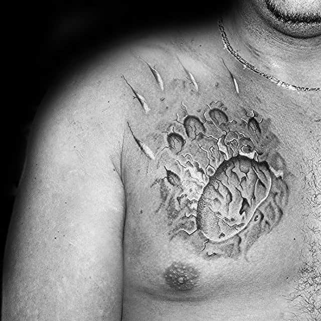 Upper Chest Bear Claw Male Stone Tattoo Inspiration