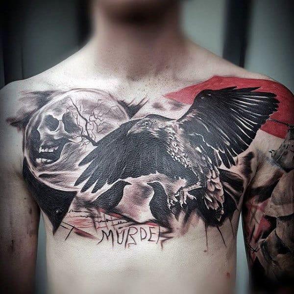 Upper Chest Black Crows Moon Trash Polka Mens Tattoo Design Ideas