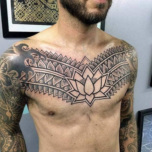Upper Chest Black Ink Mens Upper Chest Nice Tattoo Designs