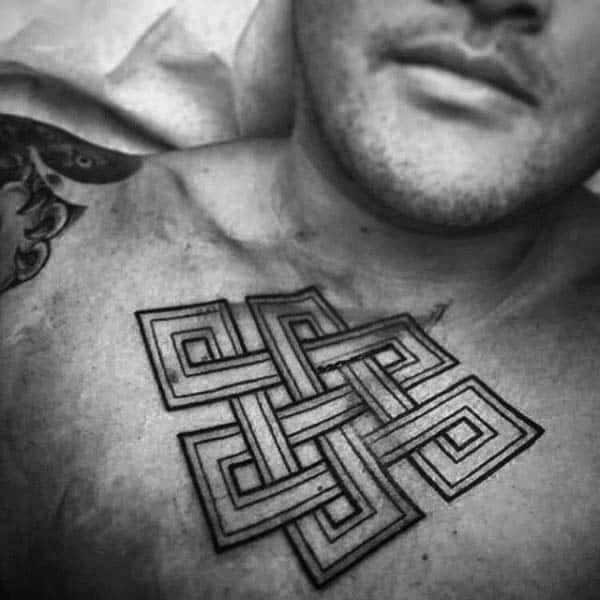 Upper Chest Black Ink Outline Endless Knot Tattoos For Guys