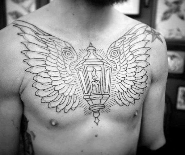 Upper Chest Black Ink Outline Wings Lantern Tattoo Ideas For Males