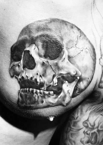 Upper Chest Bone Skull Guys Realistic Tattoo