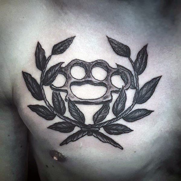 Upper Chest Brass Knuckles Laurel Wreath Tattoos For Gentlemen