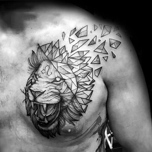 Upper Chest Broken Geometric Lion Tattoo On Men