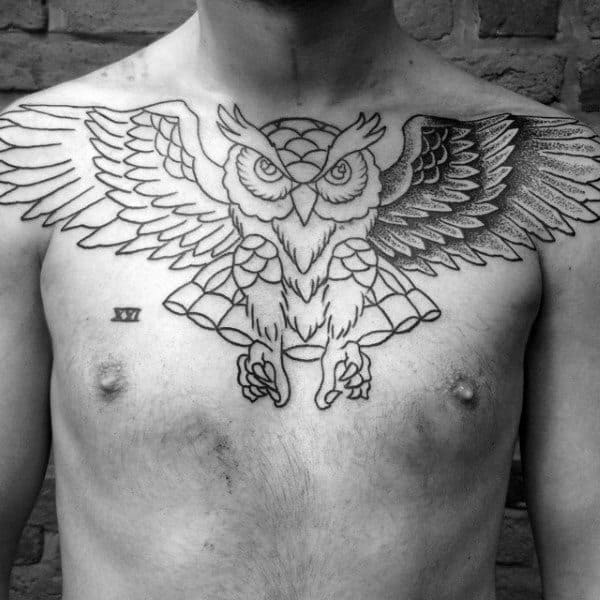 Upper Chest Classic Traditional Owl Mens Tattoos