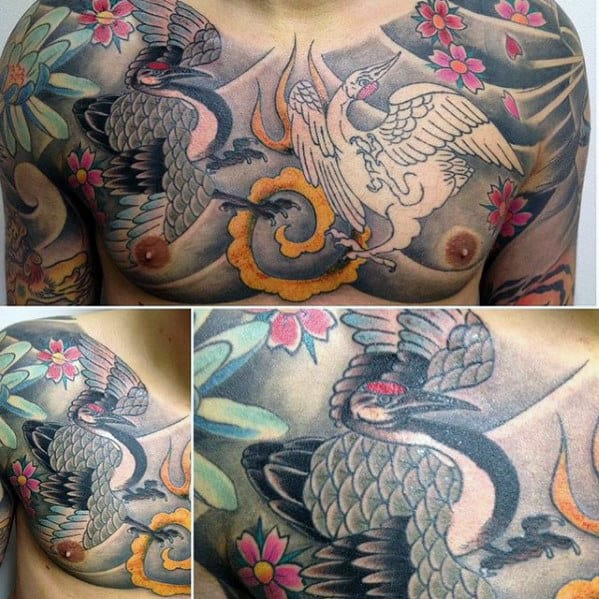 Upper Chest Colorful Mens Japanese Crane Tattoos