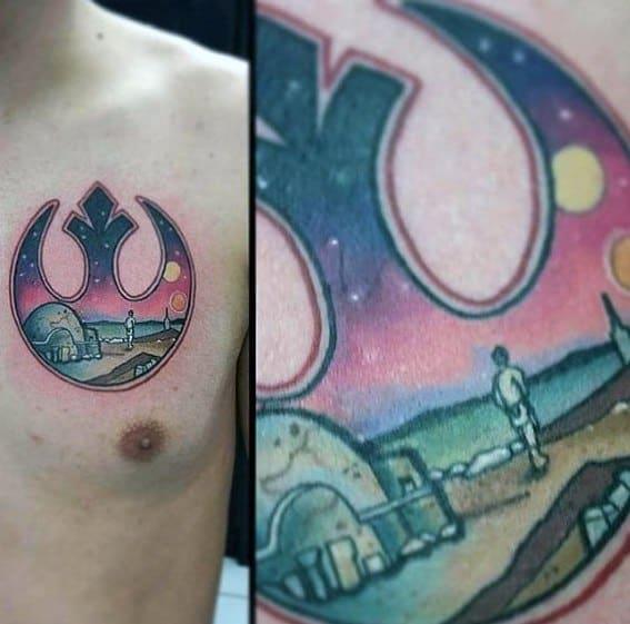 Upper Chest Creative Rebel Alliance Tattoos For Men
