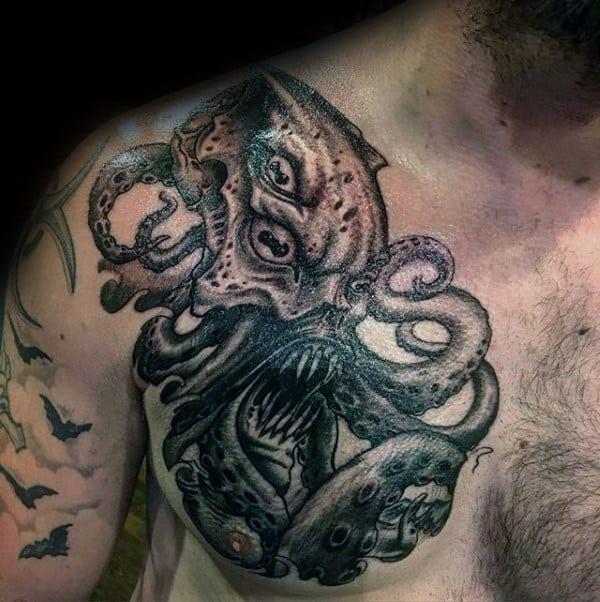 Upper Chest Cthulhu Mens Tattoo Ideas