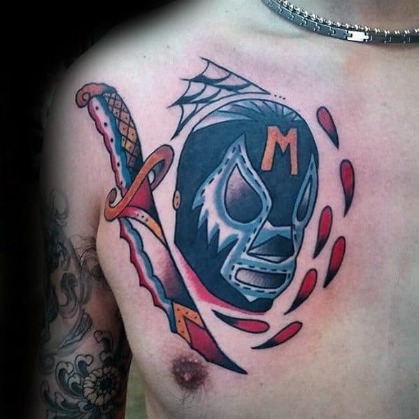 Upper Chest Dagger Wrestling Male Tattoos