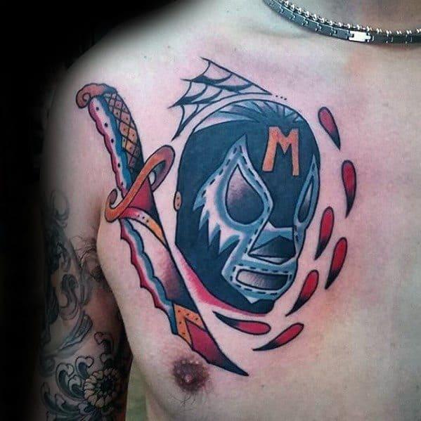 Upper Chest Dagger Wrestling Male Tattoos