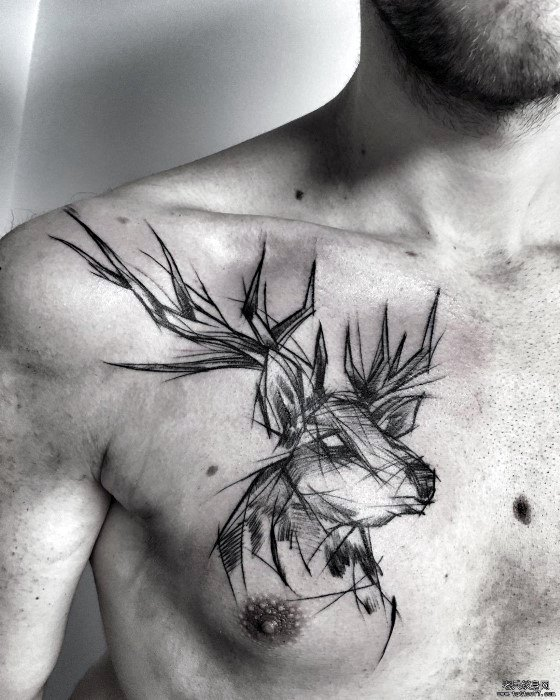 Upper Chest Deer Mens Tattoo With Sketch Design