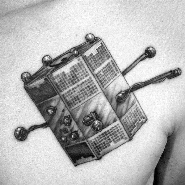 Upper Chest Detailed 3d Satellite Guys Tattoos
