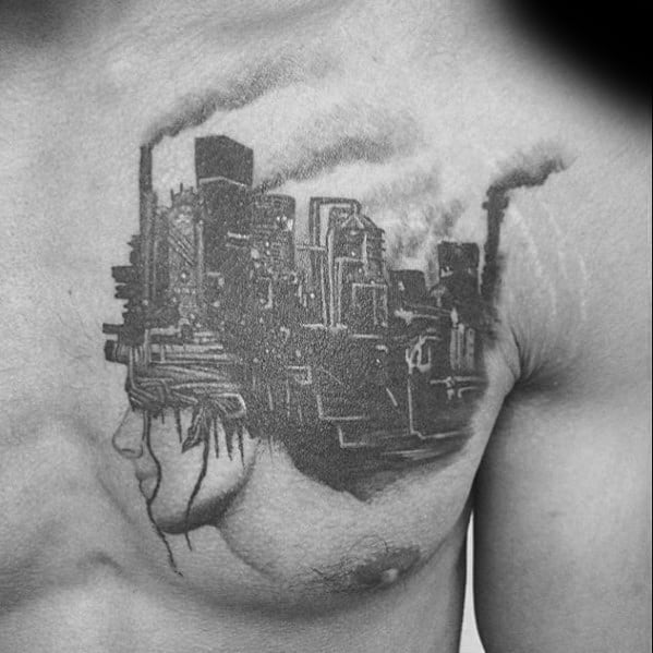 Upper Chest Distinctive Male Surrealism Tattoo Designs