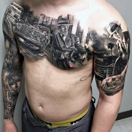 Upper Chest Gangster Themed Tattoos For Men