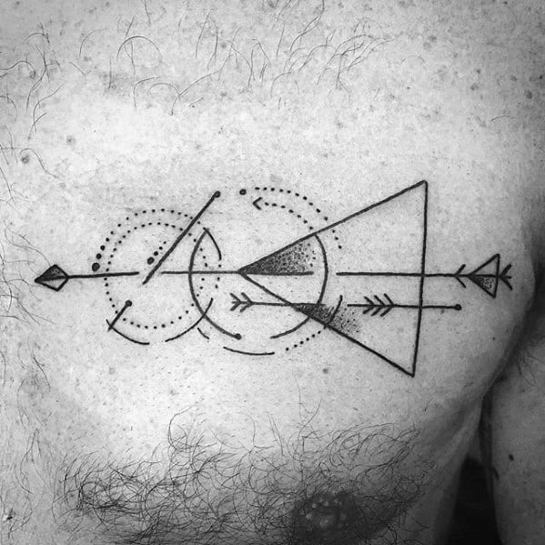 Upper Chest Geometric Artistic Male Small Arrow Tattoo Ideas