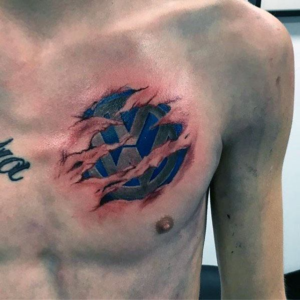 Upper Chest Guy With Ripped Skin 3d Volkswagen Logo Wv Tattoo Design