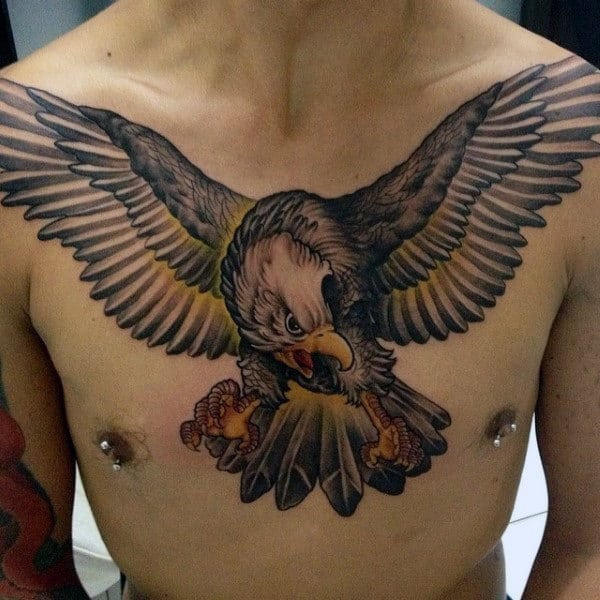 Upper Chest Guys Falcon Tattoo Design Inspiration