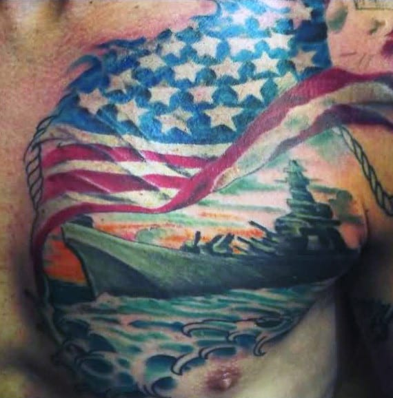 Upper Chest Guys Navy Ship With American Flag Tattoo