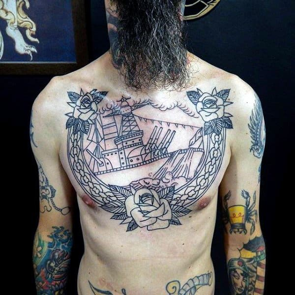Upper Chest Guys Rose Flower Navy Tattoos