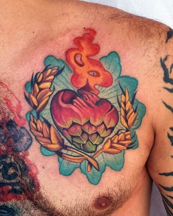 Upper Chest Heart Beer Tattoo Ideas On Guys