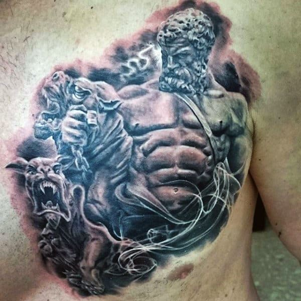 Upper Chest Hercules Mens Tatoto Designs